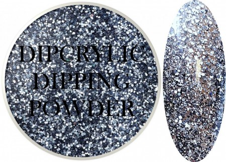 Dipcrylic Acrylic Dipping Powder - Glitter Collection - Blue Gunmetal Mix