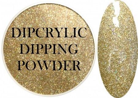 Dipcrylic Acrylic Dipping Powder - Glitter Collection - Holographic Gold