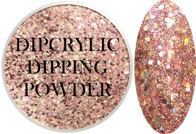 Dipcrylic Acrylic Dipping Powder - Heavy Metal Glitter Collection - Rose Gold