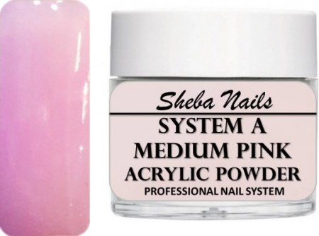 Sheba Nails - Selvjevnende akrylpulver - Medium Pink - 30 ml