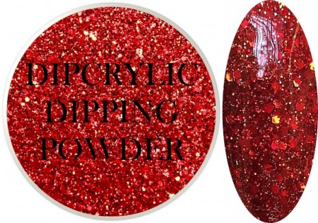 Dipcrylic Acrylic Dipping Powder - Glitter Collection - Sparkling Red Mix