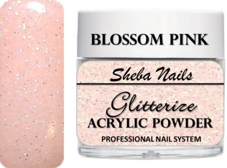Sheba Nails - Glitterize Acrylic Powder - Blossom Pink - 15 ml