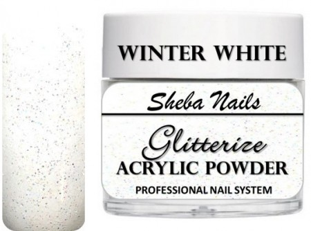 Sheba Nails - Glitterize Acrylic Powder - Winter White - 15 ml