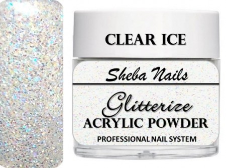 Sheba Nails - Glitterize Acrylic Powder - Clear Ice - 15 ml