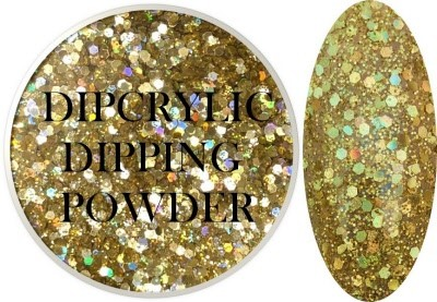 Dipcrylic Acrylic Dipping Powder - Unicorn Poop Collection - Holographic Liquid Gold