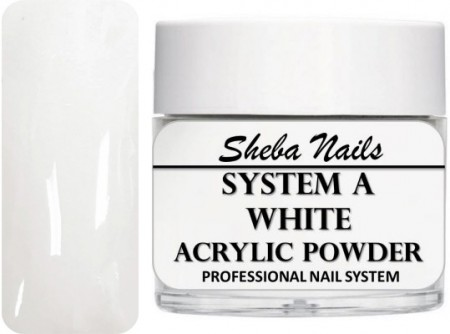 Sheba Nails - Selvjevnende akrylpulver - White - 60 ml